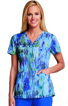 Clearance Elan by Barco Uniforms Women's Sweetheart V-Neck Abstract Print Scrub Top