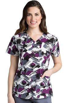 Grey's Anatomy™ Women's V-Neck Abstract Print Scrub Top