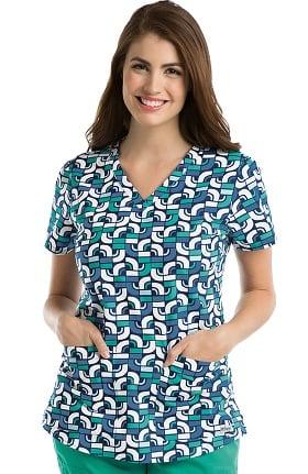 Grey's Anatomy™ Women's V-Neck Geometric Print Scrub Top