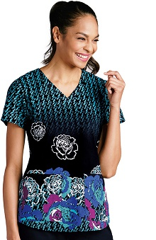 Grey's Anatomy™ Women's V-Neck Floral Print Scrub Top