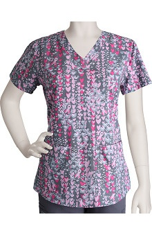 Grey's Anatomy Women's V-Neck Heart Print Scrub Top