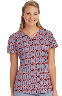 Clearance Grey's Anatomy™ Women's V-Neck Geometric Print Scrub Top