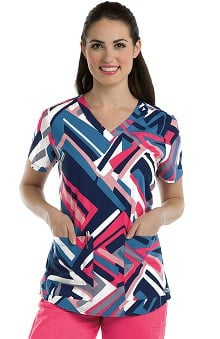 Grey's Anatomy™ Women's V-Neck Geometric Print Scrub Top