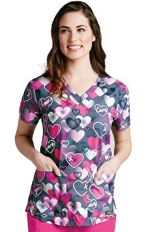 Grey's Anatomy™ Women's V-Neck Heart Print Scrub Top