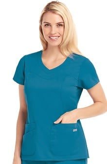 Clearance Grey's Anatomy™ Women's Sweetheart Yoke V-Neck Scrub Top