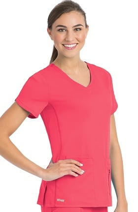 Clearance Active by Grey's Anatomy™ Women's Side Panel V-Neck Solid Scrub Top