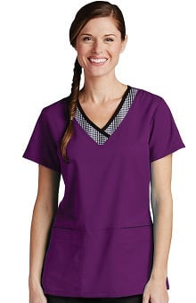 Active by Grey's Anatomy™ Women's Print Inset V-Neck Solid Scrub Top