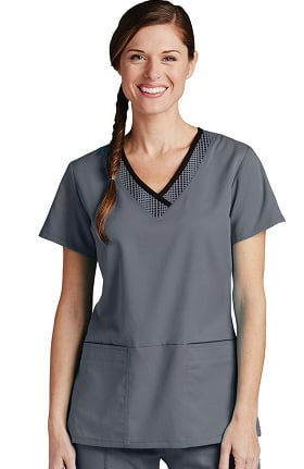 Clearance Active by Grey's Anatomy™ Women's Print Inset V-Neck Solid Scrub Top