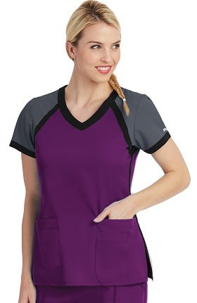 Active by Grey's Anatomy™ Women's Tri-Color V-Neck Solid Scrub Top