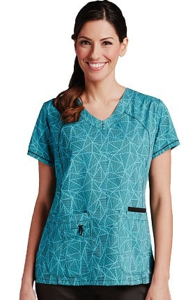 Clearance Active by Grey's Anatomy™ Women's Trinity V-Neck Geometric Print Scrub Top