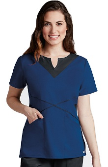Grey's Anatomy™ Women's Split Neck Piping Inset Solid Scrub Top