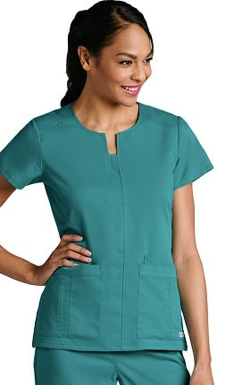 Grey's Anatomy™ Women's Notch Neck Front Panel Solid Scrub Top
