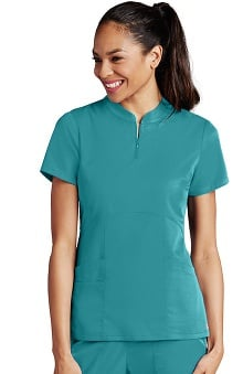 Clearance Grey's Anatomy™ Women's Zip Mandarin Collar Solid Scrub Top