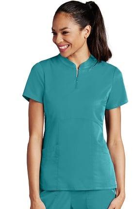 Clearance Grey's Anatomy™ Women's Zip Mandarin Collar Solid Scrub Top