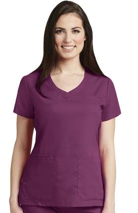 Grey's Anatomy™ Women's Curved V-Neck Solid Scrub Top