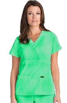 general hospital scrubs: Grey's Anatomy Women's Junior Mock Wrap Solid Scrub Top
