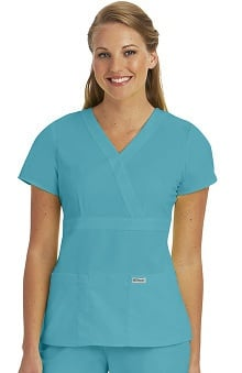 Grey's Anatomy Women's Junior Mock Wrap Solid Scrub Top