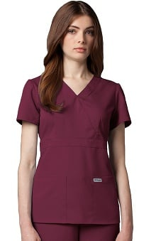 Grey's Anatomy™ Women's Junior Mock Wrap Solid Scrub Top