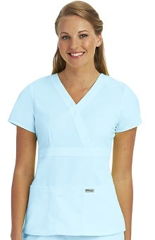 Clearance Grey's Anatomy™ Women's Junior Mock Wrap Solid Scrub Top
