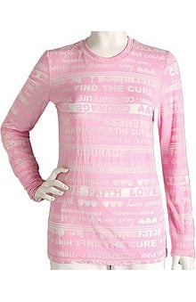 pink ribbon scrubs: ICU by Barco Uniforms Women's Burn-Out T-Shirt