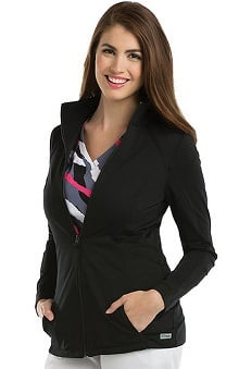 Grey's Anatomy™ Women's Mock Neck Zip Front Solid Scrub Jacket