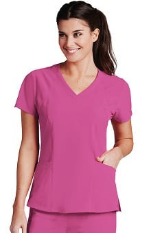 Barco One™ Women's V-Neck Perforated Shoulder Solid Scrub Top