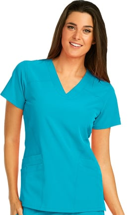 Clearance Barco One™ Women's V-Neck Perforated Side Panel Solid Scrub Top