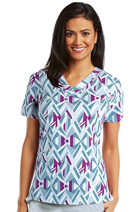 Barco ONE™ Women's V-Neck Geometric Print Scrub Top