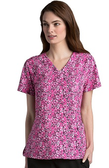 Barco One™ Women's V-Neck Animal Print Scrub Top