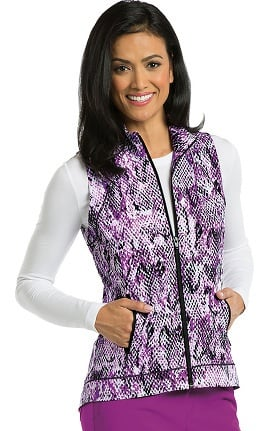 Barco One™ Women's Zip Front Animal Print Scrub Vest