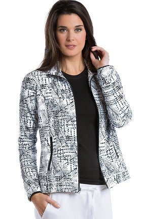 Barco One™ Women's Zip Front Abstract Print Scrub Jacket