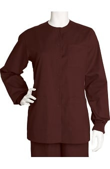 clearance10: Barco Uniforms Women's 3-Pocket Round Neck Snap Front Solid Scrub Jacket