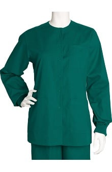 Clearance Barco Uniforms Women's 3-Pocket Round Neck Snap Front Solid Scrub Jacket
