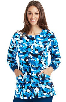 Clearance Icu by Barco Uniforms Women's Abstract Print Warm-Up Scrub Jacket