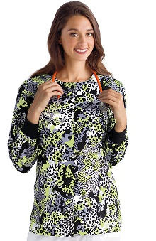 Clearance Icu by Barco Uniforms Women's Animal Print Warm-Up Scrub Jacket