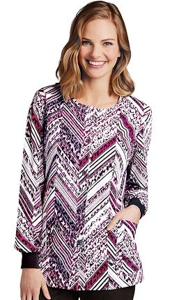 Clearance ICU by Barco Uniforms Women's Warm Up Geometric Animal Print Scrub Jacket