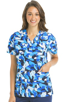 Icu by Barco Uniforms Women's V-Neck Abstract Print Scrub Top