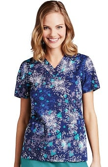 Clearance ICU by Barco Uniforms Women's V-Neck Abstract Print Scrub Top