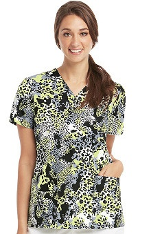 Icu by Barco Uniforms Women's V-Neck Animal Print Scrub Top