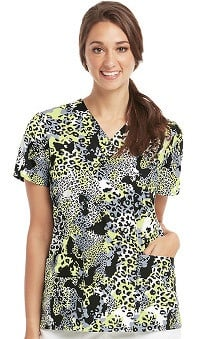 Clearance Icu by Barco Uniforms Women's V-Neck Animal Print Scrub Top