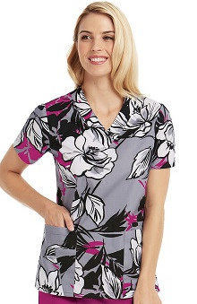 Icu by Barco Uniforms Women's V-Neck Floral Print Scrub Top