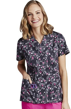 Clearance ICU by Barco Uniforms Women's V-Neck Heart Print Scrub Top