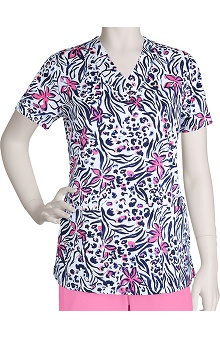 Clearance Icu by Barco Uniforms Women's Detail V-Neck Print Scrub Top