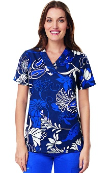 Clearance ICU by Barco Uniforms Women's V-Neck Botanical Print Scrub Top