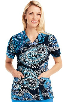Icu by Barco Uniforms Women's V-Neck Paisley Print Scrub Top