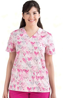 pink ribbon scrubs: Icu by Barco Uniforms Women's Detail V-Neck Print Top