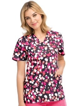 Clearance ICU By Barco Uniforms Women's V-Neck Geometric Print Scrub Top