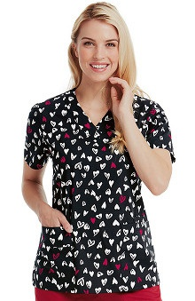 Icu by Barco Uniforms Women's V-Neck Heart Print Scrub Top