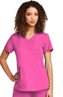 Grey's Anatomy™ Women's V-Neck Shirred Back Solid Scrub Top