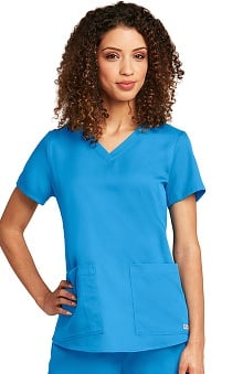 Clearance Grey's Anatomy™ Women's V-Neck Shirred Back Solid Scrub Top